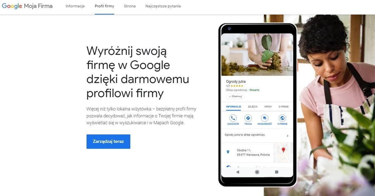 Google Moja Firma - wizytówka